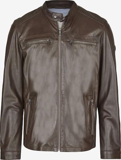 bugatti Lederjacke mit Druckknopfrieglen und Reißverschlüssen in dunkelbraun, Produktansicht