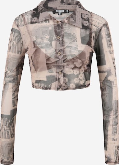 Bluză Missguided Petite pe maro cămilă / gri fumuriu, Vizualizare produs