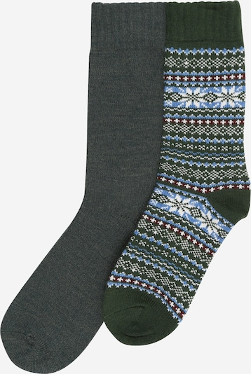 JACK & JONES Socken in hellblau / dunkelgrau / dunkelgrün / weiß, Produktansicht