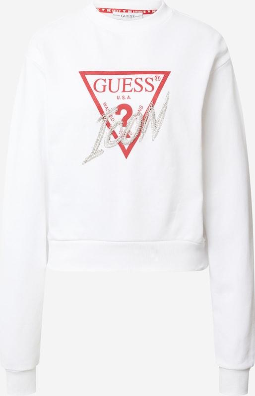 GUESS Sweatshirt mit Logo Print in Weiß online kaufen